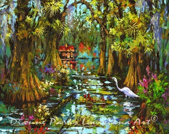 Morning in the Swamp, Louisiana Swamp Painting, Bayou Wildlife, New Orleans Art, Louisiana Swamp Print, New Orleans Artist FREE SHIPPING!