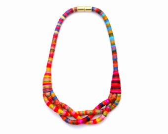Colorful Braided Rope Necklace For Women, Textile Statement Necklace For Her, Modern Fabric Jewelry, Unique Jewelry Gift For Her
