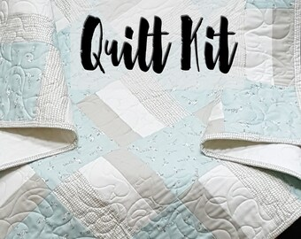 Quilt Kit for Infant-Toddler Quilt in Neutral Beige and Sage with Tiny Ducks