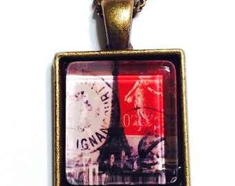 Glass Eiffel Tower Postage Stamp Art Pendant