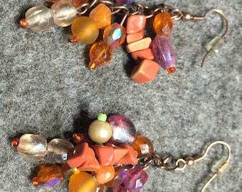Earrings ' Coral & berries '-Copper