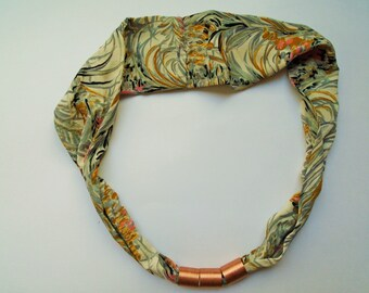 Japanese Silk Scarf - Vintage Japanese Silk Kimono Fabric and Copper Necklace