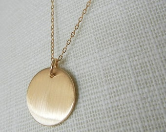 Gold Circle Necklace | Brushed Gold Simple Necklace | Minimal Gold Necklace | Everyday Gold Jewelry | Simple Jewelry Shimmer E. Ria Designs