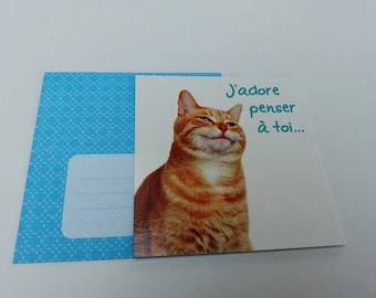 Cat card I love thinking of you with envelope
