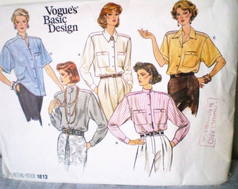 Vintage 1980s Vogue 1813 Loose Fitting Shirt Blouse Pattern Sizes 8-10-12 - drop shoulder pads, collar variations, back pleated into yoke