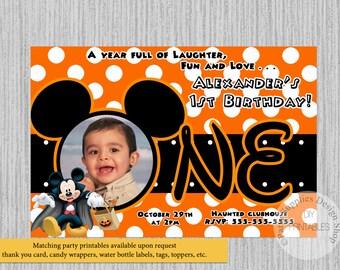 Mickey mouse halloween invitation etsy halloween mickey mouse 1st birthday invitations diy printable invitations disney mickey mouse halloween party filmwisefo