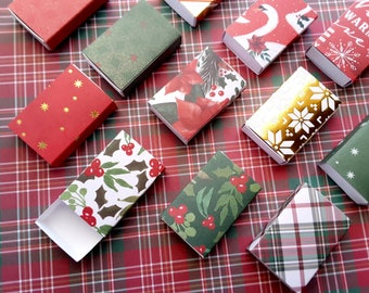 Assorted Holiday patterns matchbox size boxes/ Slide box/ Jewelry Packaging / Gift box / Party favor / Always Christmas / Set of 12