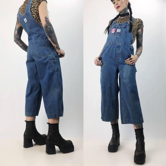 90's Denim Overalls Vtg Blue Jean Capri Length Jumper Size 6/8 - Overall Pants Baggy Womens Jean Jumpsuit Overalls - Wide Leg Pants Jumpsuit