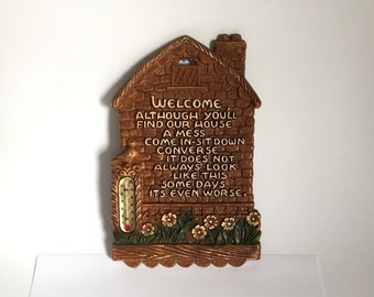 Mid Century WELCOME Poem Wall Plaque with Thermometer