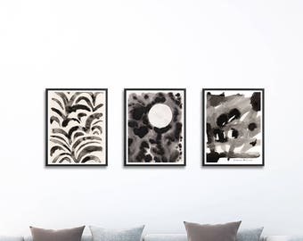 Set of 3 black and white prints. Wall Art Set of 3. Black and white abstract art. Painting sets of 3. Abstract art. Set of 3 prints
