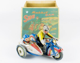Vintage Tin Toy Motorcycle side car friction / wind-up motor Rabbit Sidecar nr 1809 in original box