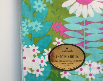 60s 70s deadstock floral table cover, disposable table cloth, new old old stock flower power table cover, hallmark 70s floral paper cover