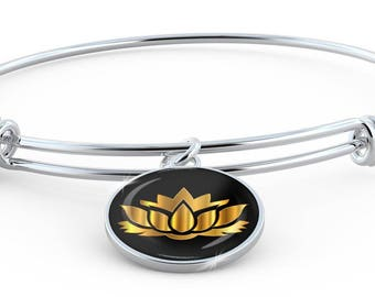 Golden Lotus Flower - Bangle Bracelet