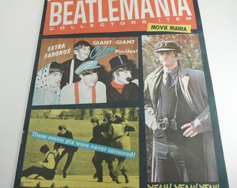 Vintage Beatles Magazine 1964 Beatlemania Collector's Item Movie Mania Full Color Centerfold John Paul George Ringo Hard Day's Night Movie