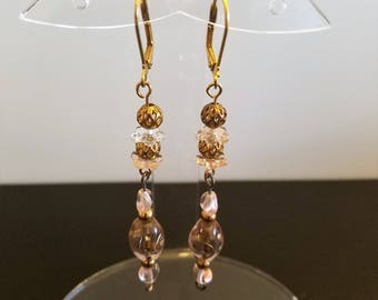 Gold and Pink Starlight Dangle Earrings with Lever back ear wires