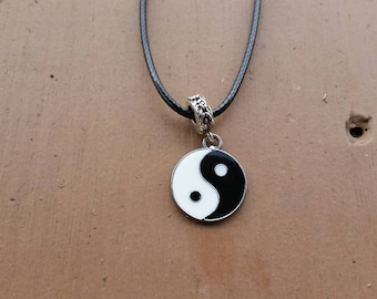 Black and White Yin Yang Pendant Charm Necklace on Black Cord Necklace