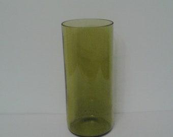 Green glass tumbler vase