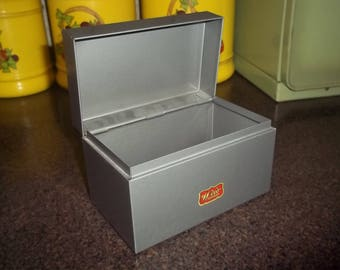 Vintage Weis Metal Industrial Box Recipe Box  in great condition Monroe WI