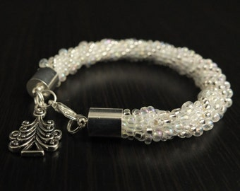Winter Is Coming - bead crochet bracelet. Free delivery.
