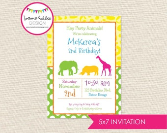 Zoo Birthday Invitation, Zoo Animal Birthday, Zoo Printables, Zoo Animal Decorations, Colorful Zoo Invitation, Lauren Haddox Designs