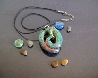 Jewelry Pendant necklace raku ceramic pendant turquoise copper