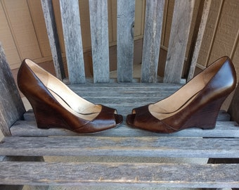 Vintage Aldo Brown Wedge Shoes High Heel Slip On Open Toe Soft Leather Shoes Size 37 EU