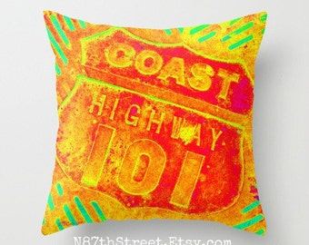 "COAST HIGHWAY 101 16x16"" Pillow Cover. Photo Art by TMCdesigns. Home Decor. Yellow, Orange. California. Coastal. West Coast. Teens. Funky."