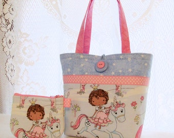 Sweet Princess Unicorn Little Girls Purse Coin Purse Set Mini Tote Bag Childs Purse Timeless Treasures Fabric Blue Pink Handmade