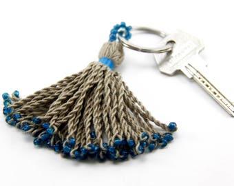 Tassel Keychain, handmade tassel, beaded tassel keychain