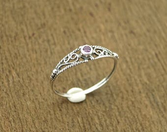 Amethyst silver ring, Filigree stone ring, purple ring, thin amethyst ring, stackable ring,
