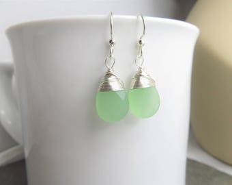 Seafoam green earrings- silver wire wrapped earrings - faceted glass teardrop beads - bridesmaids jewelry