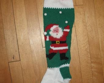 Hand Knit Christmas Stocking Santa Juggling Snowballs/ ORDERS for CHRISTMAS 2017