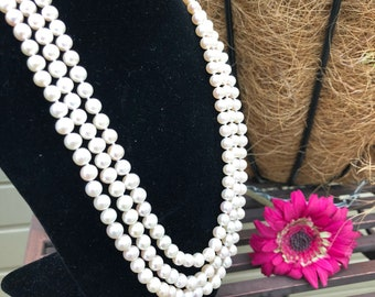 Gorgeous Elegant Pearl Necklace/925 Sterling Silver/three layers