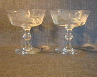 Set of 2 Cut Crystal Sherbet or Low Champagne Glasses, Crystal Sherbet Glass, Floral Design, Floral Crystal Glass