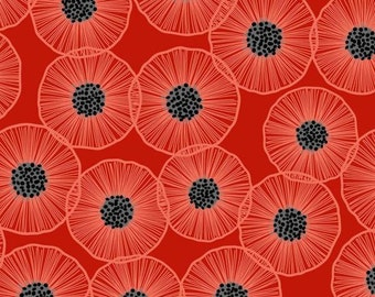 Patrick Lose Fabrics - Poppies in Bloom - Main Poppies Floral - Red - Fabric by the Yard 64219D650715