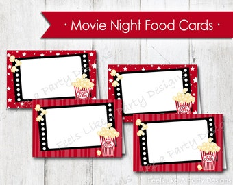 Movie Night Food Cards - Instant Download