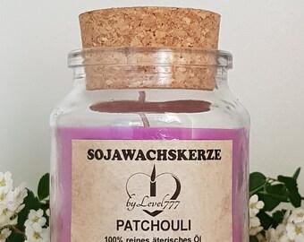 Sojakerze in Klas with cork lid-100% pure äterisches patchouli oil. Handmade in Germany