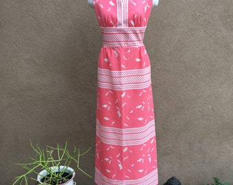 1970's Women's Pink Feather Dress