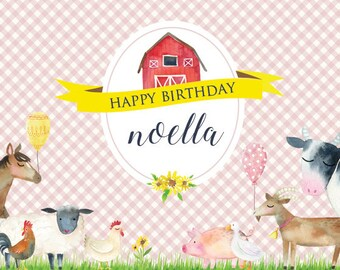 DIGITAL FILE - 4ftx6ft - Farm Theme Birthday Banner with Barn and Farm Animals - PINK - Cow, Pig, Sheep, Chicken, Horse