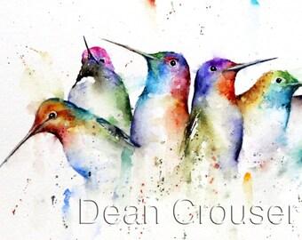 HUMMINGBIRDS Watercolor Print by Dean Crouser
