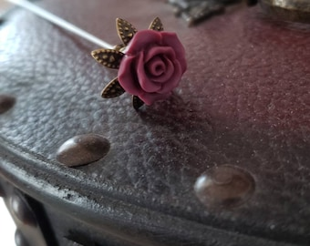 Victorian Hat Pin. Antique Inspired. Deep Wine Floral Rose & Filigree Brass, Scarf Pin Stick Pin. DISPLAY or USE! Strong, Clutch Included