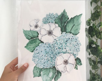 Bouquet painting-flower painting-hydrangea painting-poppy painting-flower art-flower print-bouquet print