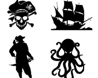 """Set of 4 Pirate Decals, 5"""" each"""