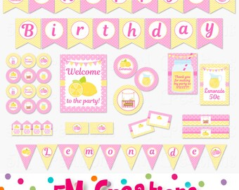 Lemonade Birthday Party Printable Decorations - Lemonade Party Printables Package -Pink Yellow Banner Cupcake toppers INSTANT DOWNLOAD PDF