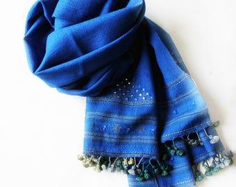 Royal Blue Woollen Scarf , Royal Blue Stole, Royal Blue Scarf, Handwoven Woollen Scarf With Mirror Work, Winter Fashion, Fashion Accessory