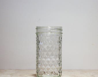 12oz Quilted Crystal Jar | Mason Jar | Vintage Mason Jar | Vintage Glass Jar | Ball Jar