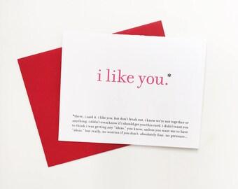 Funny Love Card / Awkward I Like You / Valentine Greeting Card