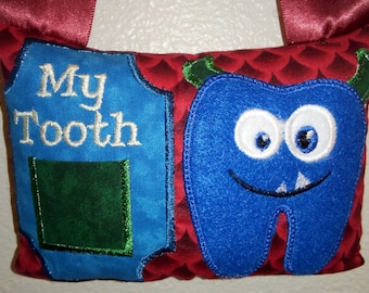Blue Monster Tooth Fairy Pillow