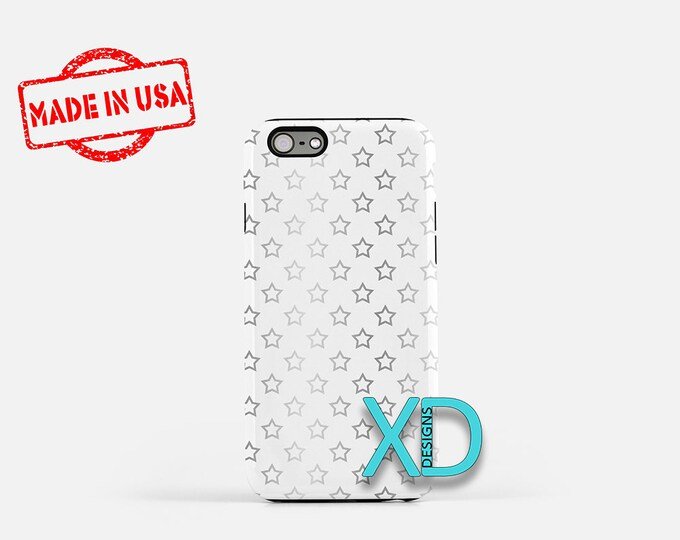 Gradient Star Phone Case, Gradient Star iPhone Case, Winter iPhone 7 Case, Silver, Winter iPhone 8 Case, Gradient Tough Case, Clear Case