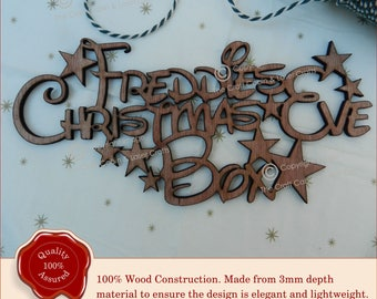Personalised Disney 'Christmas Eve Box' Topper Sign. Wooden Stars Craft Sign, Plaque. Advent Gift,